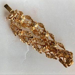 Gold tone floral bracelet